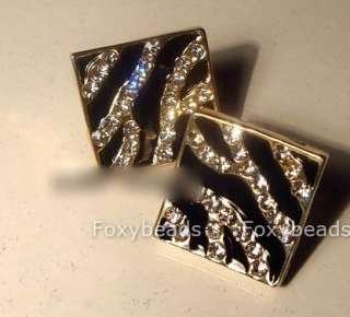 Fashion Zibra Stripe Enamel Square Rhinestone Crystal Earrings Ear
