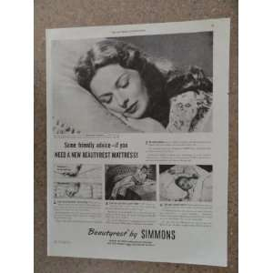 by Simmons, Vintage 40s full page print ad. (woman asleep/little