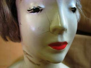 VINTAGE LAMOREAUX PLASTER MANNEQUIN DISPLAY HEAD W/HAIR