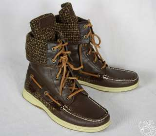 SPERRY Top Sider Ladyfish Dark Brown Boucle Womens Shoes Boots New