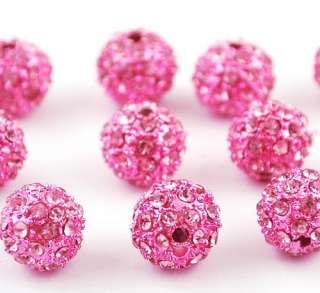 50p 9MM Disco Crystal Ball Beads 8Colors+Braid Chain Fit DIY Charms