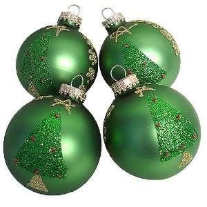 Set of 4 Green Glitter Christmas Tree Glass Ball Ornaments