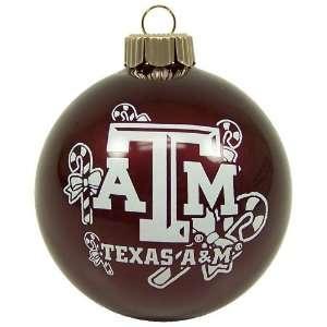 TEXAS A&M AGGIES OFFICIAL TEAM LOGO GLASS BALL CHRISTMAS