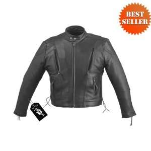 Motorcycle Jackets   Mens Vented Leather Motorcycle Jackets with Euro