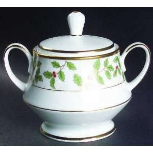 Holly And Berry Gold Sugar Bowl & Lid, Fine China Dinnerware Home