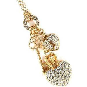 Gold Tone Key and Heart Charm Necklace Jewelry