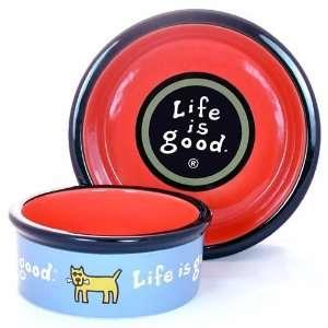 Life is Good ceramic dog bowl in blue sky 6  Kitchen