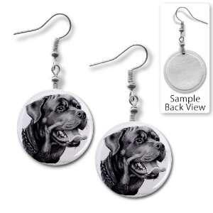 Rottweiler DOG Pencil Sketch Art 1 inch Dangle Earrings