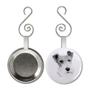 Wire Fox Terrier DOG Pencil Sketch Art 2.25 inch Button Style Hanging