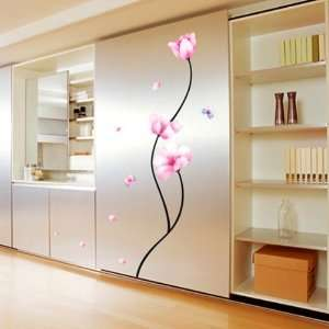 PINK FLOWER WALL ART DECOR Mural Decal STICKER(KR0011