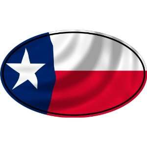 TEXAS FLAG OVAL Bumper Sticker Decal   laminated to last