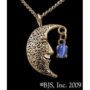 Necklace, 14k Yellow Gold, Dark Blue set gemstone, Moon Star Jewelry