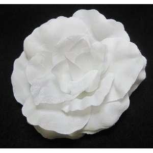 Bright White Rose Flower Hair Clip Beauty