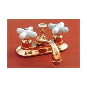 Sacramento Center Set w/ Porcelain Cross Point Handles   Chrome Plated