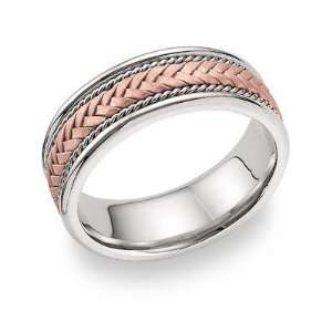 14K Rose Gold Braided Wedding Band Ring Jewelry