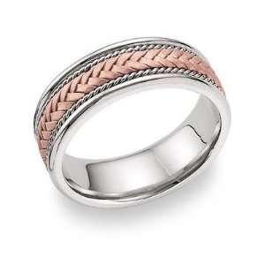 14K Rose Gold Braided Wedding Band Ring Jewelry