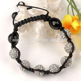 White Crystal Disco Ball Beads Hip Hop Bracelet Adjustable 10L