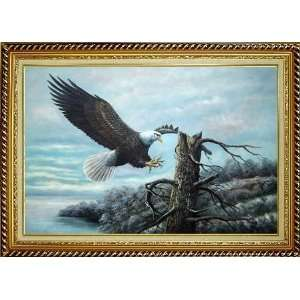 Lakeside American Bald Eagle Oil Painting, with Linen