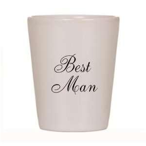 Best Man Black Script Ceramic Shot Glass