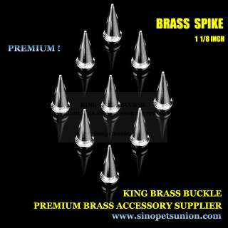 50 Brass Punk Spikes Screwback Spike Studs 1 1/8 Biker