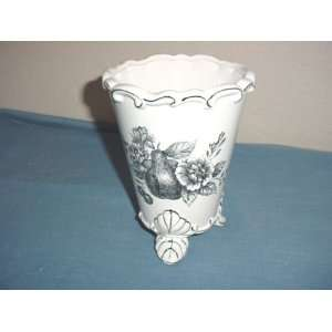 Porcelain Footed Vase with Flowers & Fruit Design