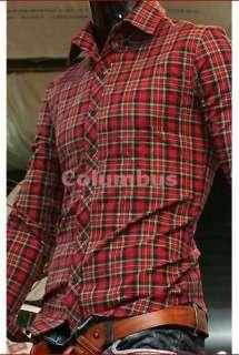 stylish Casual Dress Shirts Slim fit plaid/check Red Cross SH45