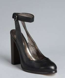 Charles David black leather Tunic ankle strap stacked heels