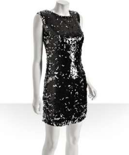 Aidan Mattox black sequin shift dress
