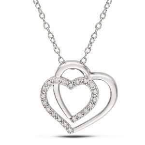 10 CT TDW Round White Diamond Heart Pendant (H I, I3) Jewelry