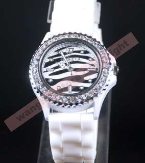 Crystal Bezel Jelly Silicone Men Women Lady Watch Wedding Xmas Gift
