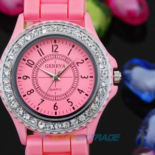 Lots of 5pcs Pink Gel Lovely Womens Sport Wrist Watches Bling Crystal