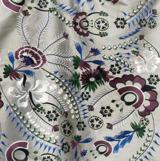 Fabric. Silver Gray with Blue & Burgundy Embroidery Flowers