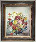 RARE OIL PAINTING CANVAS FLORAL WOOD FRAME SIGNED ART