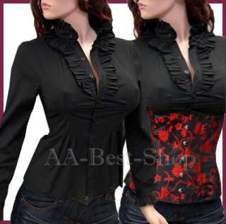 Sexy Long Sleeved Shirt Ruffles Blouse Top S M L XL 2X