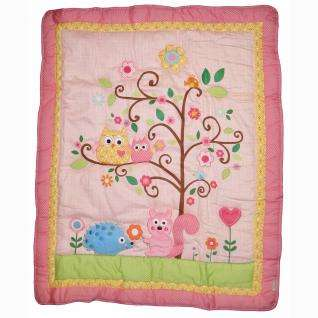 Pink Owl, Tree, and Forest Animals Baby Girl Nursery 9pc Crib Bedding