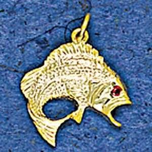 Mark Edwards 14K Gold Bass Nautical Pendant with Ruby Eye
