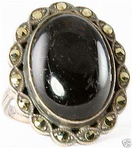 VINTAGE ART DECO STERLING SILVER MARCASITE ONYX RING