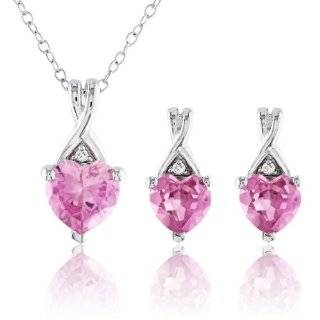 Sterling Silver Created Pink Sapphire and Diamond Accent Heart Earring