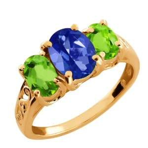 60 Ct Blue Sapphire Oval Mystic Topaz and Peridot 18k Rose Gold Ring