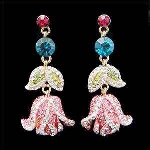 Flower Rose Multi Swarovski Crystal Necklace Earring
