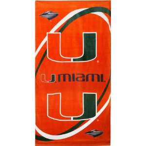 Miami Hurricanes NCAA Beach/Bath 30X60 Towel Sports