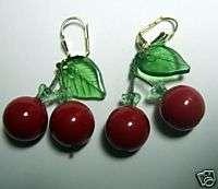 LOT 10 PR LUCITE CHERRY FRUIT SALAD LEVERBACK EARRINGS