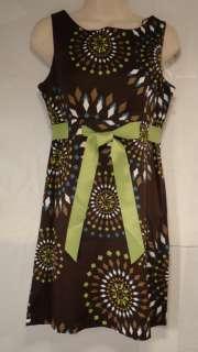 New Jessica Howard Womens Petite Sleeveless Belted Dress /Brown Multi