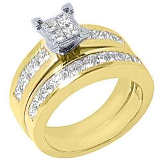 ENGAGEMENT RING WEDDING BAND BRIDAL SET SQUARE YELLOW GOLD