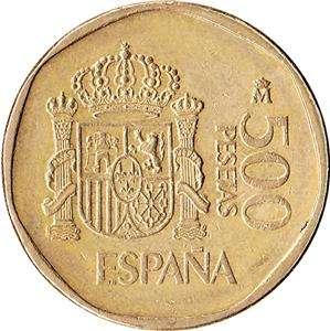 1989 Spain 500 Pesetas Coin Juan Carlos & Sofia KM#831