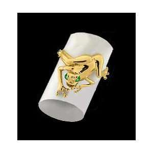 14KT Gold Frog Ring with Emerald Eyes/14kt yellow gold Jewelry