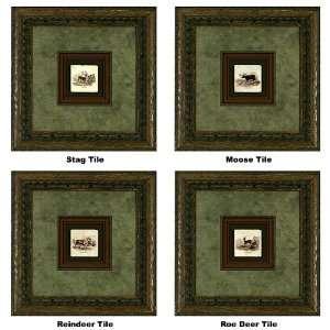 International Arts Stag, Moose, Reindeer, & Roe Deer Tiles Framed