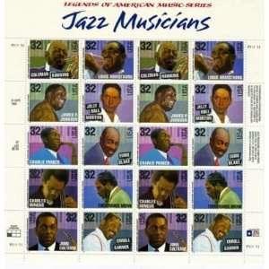 Jazz Musicians 20 x 32 cent U.S. Postage Stamps 1994