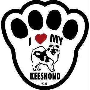 I Love My Keeshond Dog Pawprint Window Decal