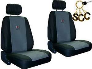 GREY BLACK Car Truck SUV Synthetic Leather SEAT COVERS 6 piece